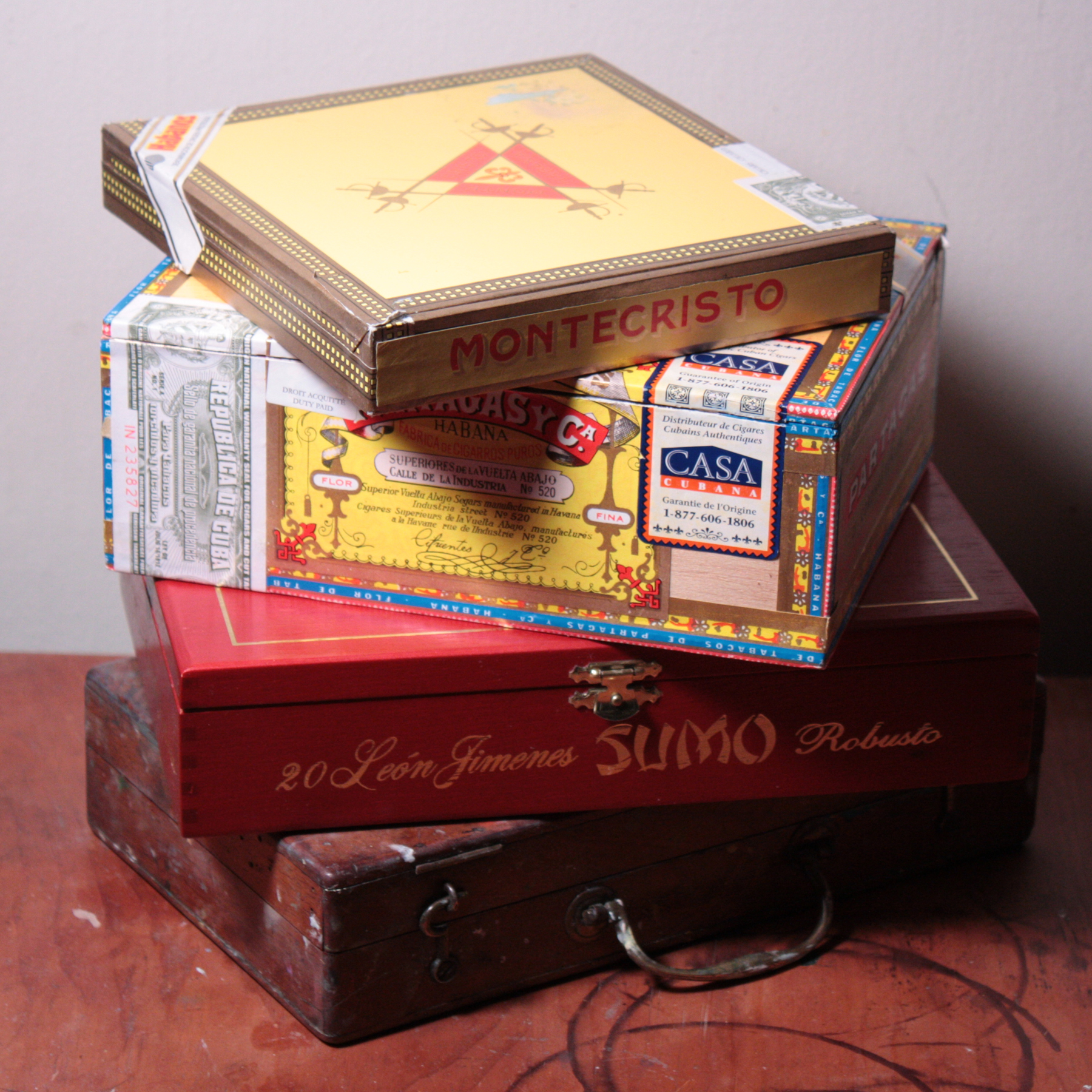 Cigar boxes for making a pochade